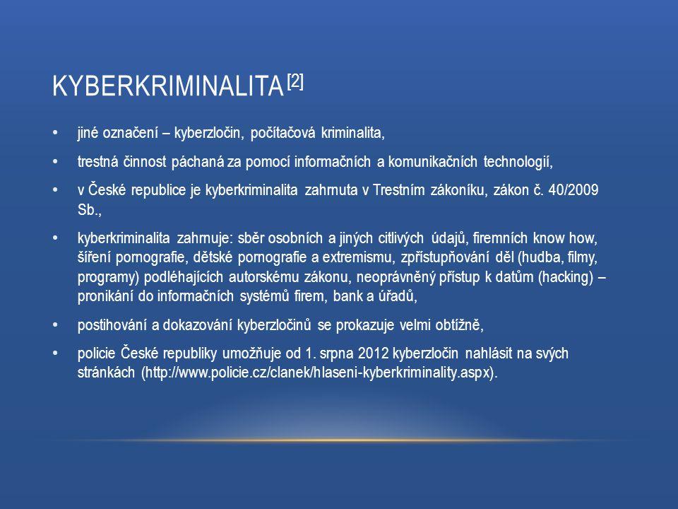 Kyberkriminalita [2] jiné označení – kyberzločin, počítačová kriminalita,